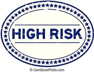bleu, élevé, grunge, risque, timbre, caoutchouc, fond, cachet, ovale, mot, blanc