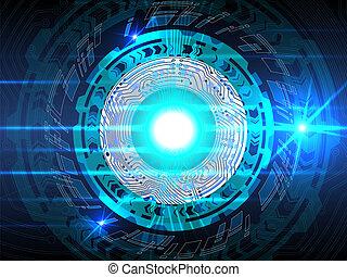 bleu, élevé, résumé, technologie, arrière-plan.
