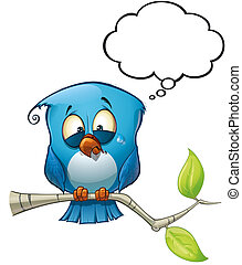 bleu, émotif, oiseau