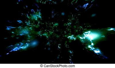 bleu, énergie, cosmique, animation, vert, boucle