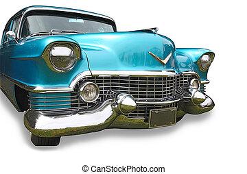 bleu, énorme, classique, automobile