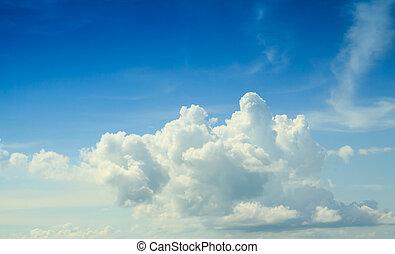 bleu, énorme, nuages blancs, ciel