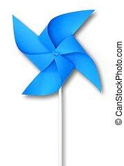 bleu, éolienne, jouet