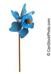 bleu, éolienne, jouet, poignée, bois
