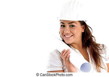 bleu, épaule, caractères, elle, jeune, architecte, tenue