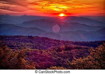 bleu, été, arête, montagnes, appalachian, coucher soleil, route express