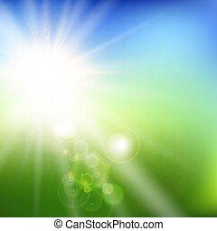 bleu, été, ciel, brouillé, champ, vert, sunlight., fond, paysage