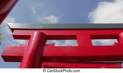 bleu, été, ciel, japonaise, torii