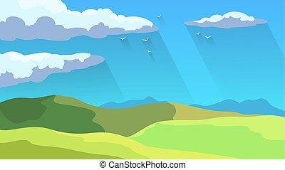 bleu, été, ciel, vert, concet., herbe, paysage