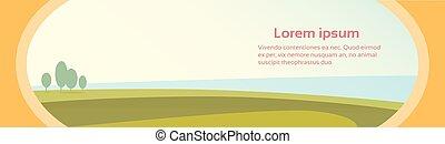 bleu, été, ciel, vert, rural, herbe, bannière, paysage, vue