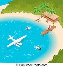 bleu, Été, clair, ou, île, concept, lune miel, vacances,...