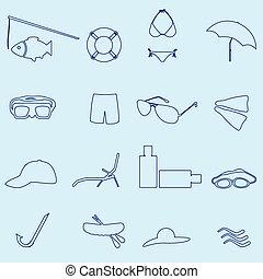 bleu, été, ensemble, eps10, contour, icônes, plage