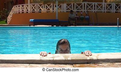 bleu, été, femme, piscine, natation