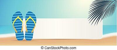 bleu, été, feuille, espace, chiquenaude, paume, message, opérations virgule flottante, plage, ton