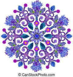 bleu, été, fleurs, flocon de neige
