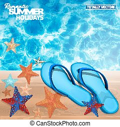 bleu, été, fond, flip-flops.