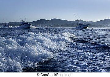 bleu, été, grand, matin, jeu, bateau pêche