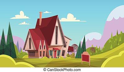 bleu, été, grand, montagne, maison, ciel, arrière-plan vert, village, herbe, paysage