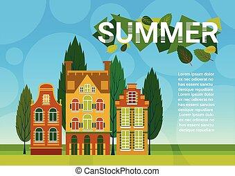 bleu, été, herbe, espace, ciel, maisons, vert, village, copie, bannière, paysage