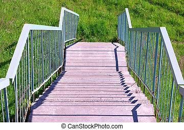 bleu, été, métal, béton, vert, balustrade, étapes, herbe, jour