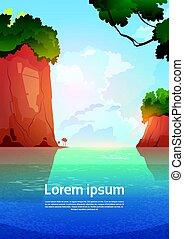 bleu, été, montagne, rochers, eau, mer, paysage