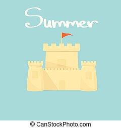 bleu, été, mot, lumière, sable, fond, château
