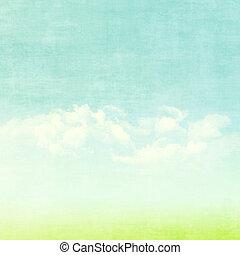 bleu, été, nuages, ciel, champ, arrière-plan vert