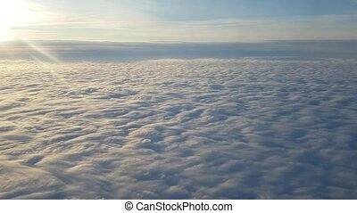 bleu, été, nuages, splendide, coucher soleil, horizon, flou, prise vue aérienne