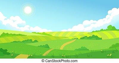 bleu, été, paysage, coloré, champs, ciel clair, herbe, clair, vert