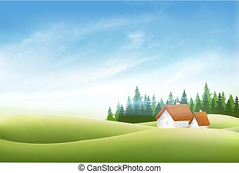 bleu, été, sky., nature, maison, vecteur, vert, village, herbe, paysage