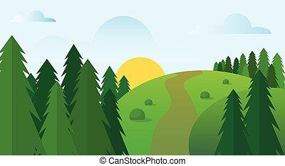 bleu, été, soleil, nuage ciel, vert, route, herbe, paysage, forêt