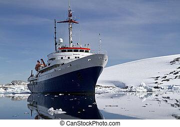 bleu, été, touriste, eaux, bateau, jour, antarctique, blanc