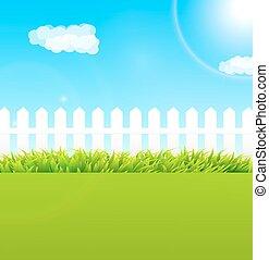 bleu, été, utile, jardin, barrière, bois, ciel, -, scène, fond