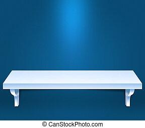 bleu, étagère, vide, fond