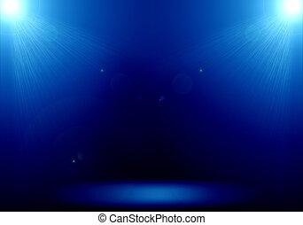 bleu, étape, plancher, flamme, résumé,  2, éclairage,  image, projecteur