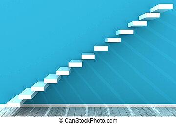 bleu, étapes, salle