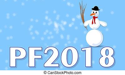 bleu, étincelles, lent, gelée, nouveau, en mouvement, 2018, bonhomme de neige, année, vidéo, dessin animé, flou