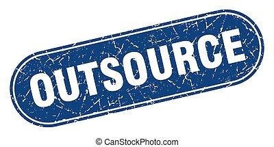 bleu, étiquette, signe., grunge, stamp., outsource