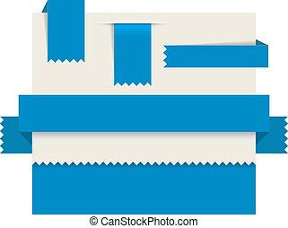 bleu, étiquettes, -, papier, vecteur, rubans