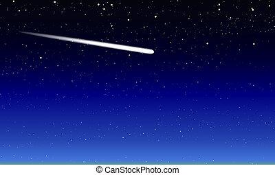 bleu, étoilé, comète, ciel, nuit