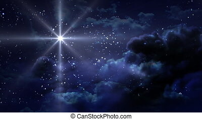 bleu, étoilé, nuit, séjour