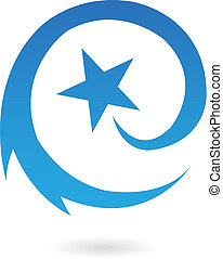 bleu, étoile filante, rond