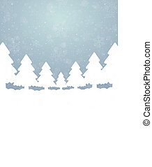 bleu, étoiles, arbre, neige, fond, blanc