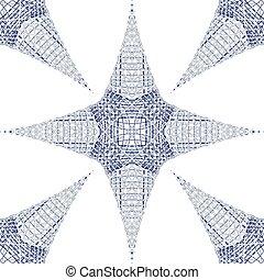 bleu, étoiles, fond, 3d