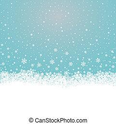 bleu, étoiles, neige, fond, snowflake blanc