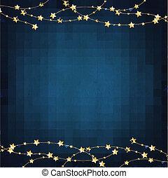 bleu, étoiles, or, fond, noël