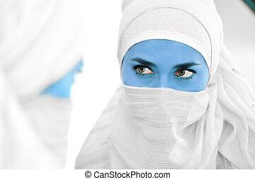 bleu, étranger, image dame, musulman, regarder, miroir, avatar, peau, conceptuel, ou