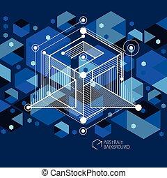 bleu, être, industriel, technique, moderne, vecteur, layout., fond, ingénierie, utilisé, noir, boîte, gabarit, plan., géométrique, avenir, composition