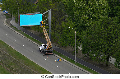 bleu, être, ouvriers, installed, panneau affichage, vide