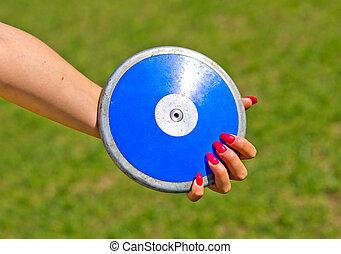 bleu, être, prêt, disque, lancé